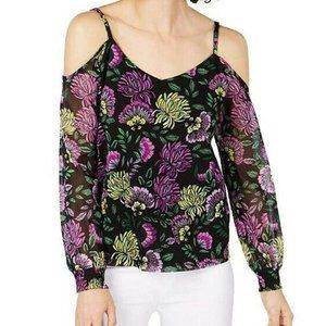 INC M Black Purple Decorative Top NWT BK75-6